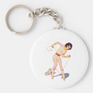 Cowgirl Tie Shoe Basic Round Button Keychain