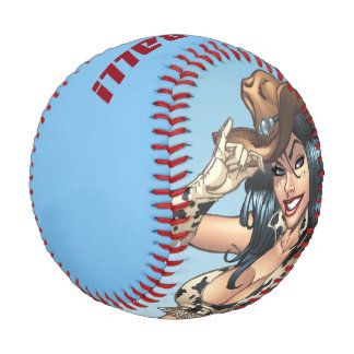 Cowgirl Tipping Her Cowboy Hat Illustration Baseball