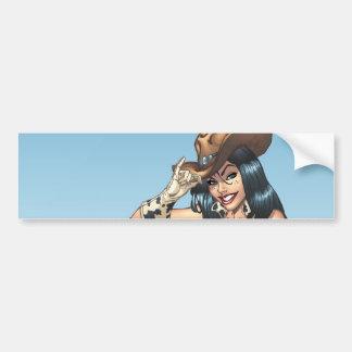 Cowgirl Tipping Her Cowboy Hat Illustration Car Bumper Sticker