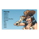 Cowgirl Tipping Her Cowboy Hat Illustration Business Card Template