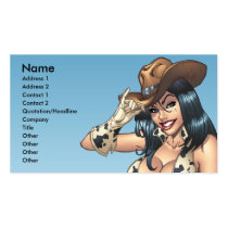 cowgirl, cowboy, hat, tipping hat, illustration, pinup, art, al rio, Business Card with custom graphic design