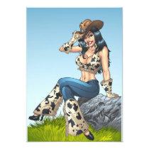 cowgirl, cowboy, tipping, illustration, pinup, al rio, art, cute, cowprint, cowboy hat, Invitation with custom graphic design