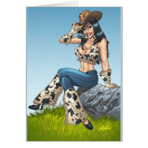 cowgirl, cowboy, hat, tipping hat, illustration, pinup, art, al rio, Card with custom graphic design