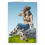 Cowgirl Tipping Her Cowboy Hat Illustration Card