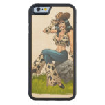 Cowgirl Tipping Her Cowboy Hat Illustration Carved® Maple iPhone 6 Bumper Case