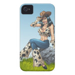Cowgirl Tipping Her Cowboy Hat Illustration iPhone 4 Case-Mate Case