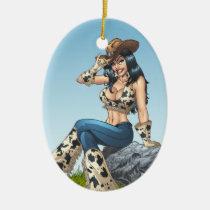 cowgirl, cowboy, tipping, illustration, pinup, al rio, art, cute, cowprint, cowboy hat, Ornament with custom graphic design