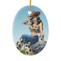 Cowgirl Tipping Her Cowboy Hat Illustration Ceramic Ornament