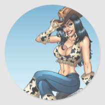 cowgirl, cowboy, hat, tipping hat, illustration, pinup, art, al rio, Sticker with custom graphic design