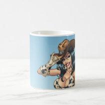 cowgirl, cowboy, tipping, illustration, pinup, al rio, art, cute, cowprint, cowboy hat, Caneca com design gráfico personalizado