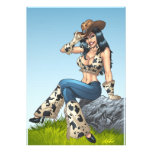 Cowgirl Tipping Her Cowboy Hat Illustration Invitations