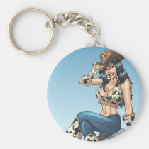 cowgirl, cowboy, hat, tipping hat, illustration, pinup, art, al rio, Keychain with custom graphic design
