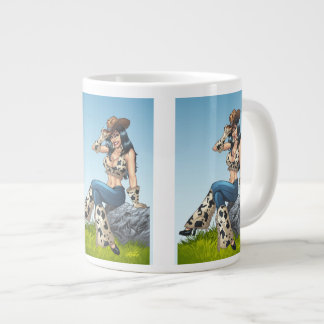 Cowgirl Tipping Her Cowboy Hat Illustration Large Coffee Mug