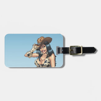 Cowgirl Tipping Her Cowboy Hat Illustration Bag Tags