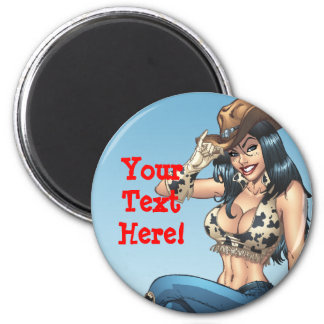 Cowgirl Tipping Her Cowboy Hat Illustration Magnets