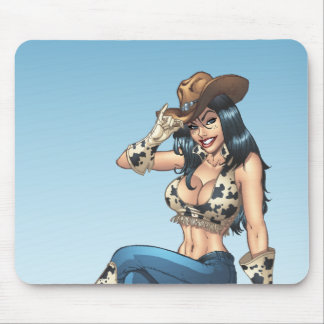 Cowgirl Tipping Her Cowboy Hat Illustration Mouse Pad