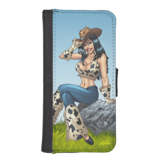 Cowgirl Tipping Her Cowboy Hat Illustration iPhone 5 Wallet Cases