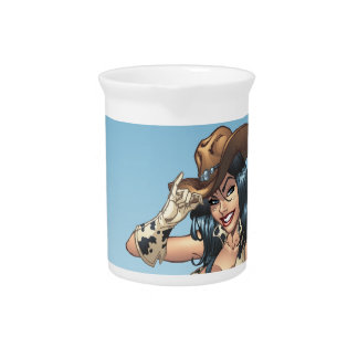 Cowgirl Tipping Her Cowboy Hat Illustration Beverage Pitchers