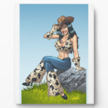 Cowgirl Tipping Her Cowboy Hat Illustration Photo Plaques