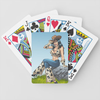 Cowgirl Tipping Her Cowboy Hat Illustration Bicycle Poker Cards