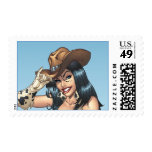 Cowgirl Tipping Her Cowboy Hat Illustration Postage