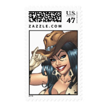 cowgirl, cowboy, hat, tipping hat, illustration, pinup, art, al rio, Stamp with custom graphic design
