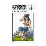 Cowgirl Tipping Her Cowboy Hat Illustration Postage Stamp