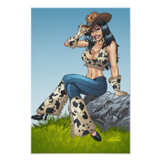 Cowgirl Tipping Her Cowboy Hat Illustration Posters