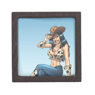 Cowgirl Tipping Her Cowboy Hat Illustration Premium Jewelry Box
