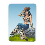 Cowgirl Tipping Her Cowboy Hat Illustration Flexible Magnets