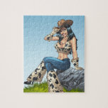 Cowgirl Tipping Her Cowboy Hat Illustration Puzzles
