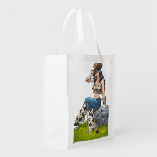 Cowgirl Tipping Her Cowboy Hat Illustration Reusable Grocery Bag