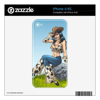 Cowgirl Tipping Her Cowboy Hat Illustration Skins For iPhone 4S