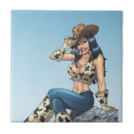 Cowgirl Tipping Her Cowboy Hat Illustration Ceramic Tile