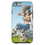 Cowgirl Tipping Her Cowboy Hat Illustration Tough iPhone 6 Case