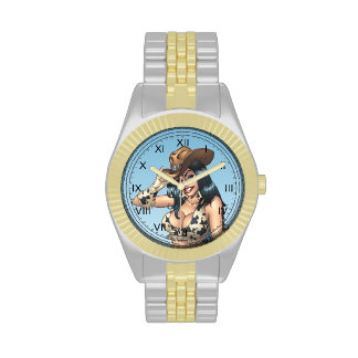 Cowgirl Tipping Her Cowboy Hat Illustration Wristwatch