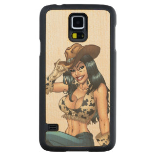 Cowgirl Tipping Her Cowboy Hat Illustration Carved® Maple Galaxy S5 Slim Case
