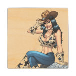Cowgirl Tipping Her Cowboy Hat Illustration Wooden Coaster
