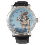 Cowgirl Tipping Her Cowboy Hat Illustration Wrist Watch