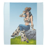 Cowgirl Tipping Her Cowboy Hat Illustration Bandana