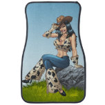 Cowgirl Tipping Her Cowboy Hat Illustration Car Mat