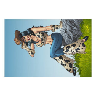 Cowgirl Tipping Her Cowboy Hat Illustration Perfect Poster