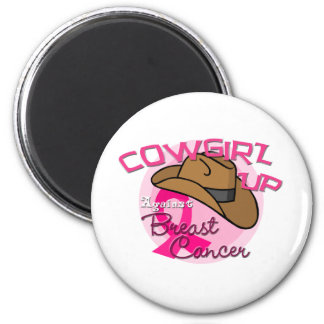 Cowgirl Up Against Breast Cancer 2 Inch Round Magnet