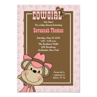 Cowgirl Western Monkey 5x7 Baby Shower Invitation