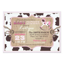 Cowgirl Western Rocking Horse Baby Shower Invitation