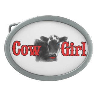 Cowgirl Western Theme Funny Cow Girl Oval Belt Buckle
