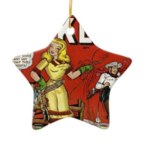 Cowgirl with a Lariat Ceramic Ornament