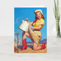 Cowgirl with Coffee Pin Up Card