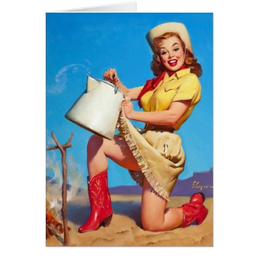 Coffee Themed Cowgirl with Coffee Pin Up Card