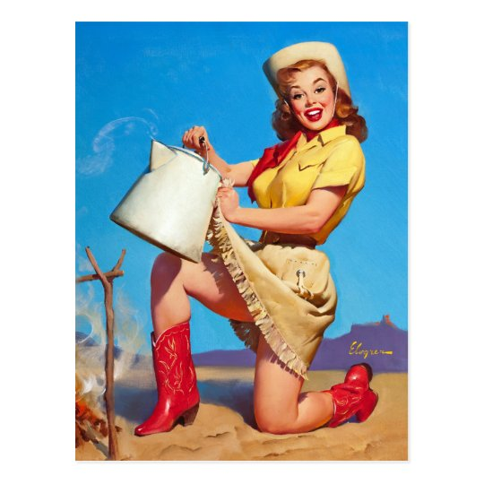 Cowgirl with Coffee Pin Up Postcard